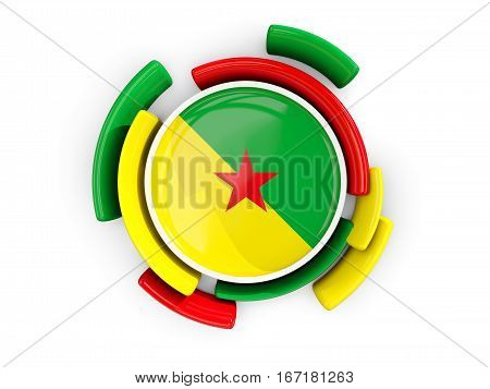 Round Flag Of French Guiana With Color Pattern