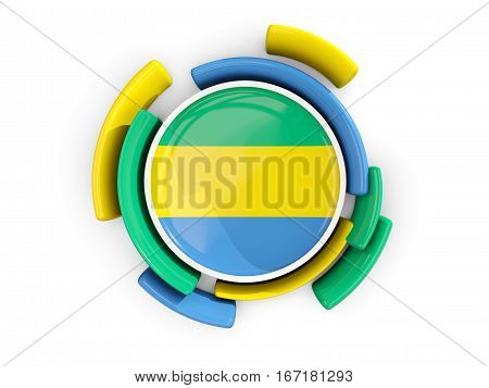 Round Flag Of Gabon With Color Pattern
