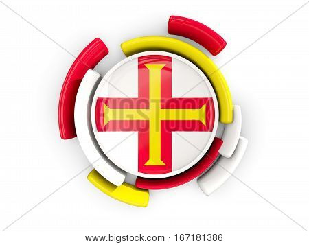 Round Flag Of Guernsey With Color Pattern