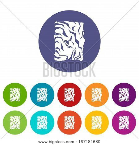 Crumpled paper set icons in different colors isolated on white background
