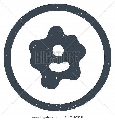 Ameba grainy textured icon inside circle for overlay watermark stamps. Flat symbol with scratched texture.