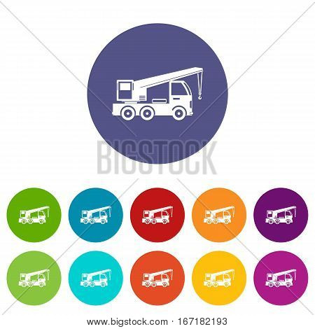 Truck mounted crane set icons in different colors isolated on white background
