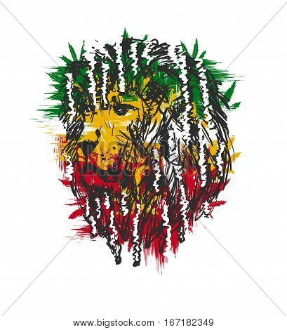 vector illustration depicting a lion with dreadlocks as a symbol of the Rastafarian subculture, and the image of Jha on background Flag colors of Jamaica.