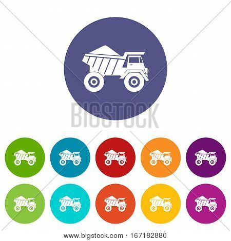 Dump truck with sand set icons in different colors isolated on white background