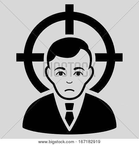 Victim Businessman vector icon. Flat black symbol. Pictogram is isolated on a light gray background. Designed for web and software interfaces.