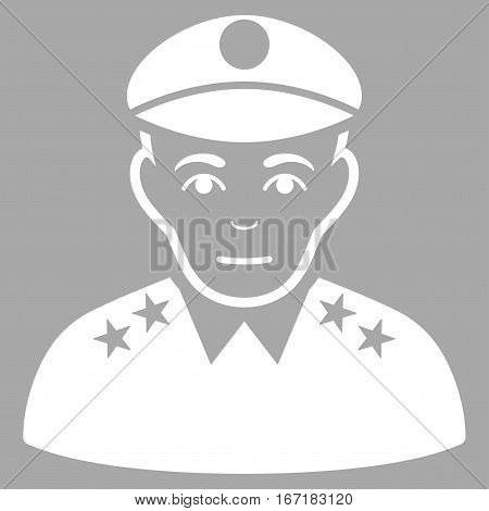 Army General vector icon. Flat white symbol. Pictogram is isolated on a silver background. Designed for web and software interfaces.