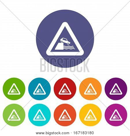 Riverbank traffic sign set icons in different colors isolated on white background