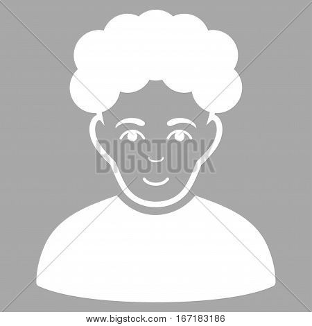 Brunet Man vector icon. Flat white symbol. Pictogram is isolated on a silver background. Designed for web and software interfaces.