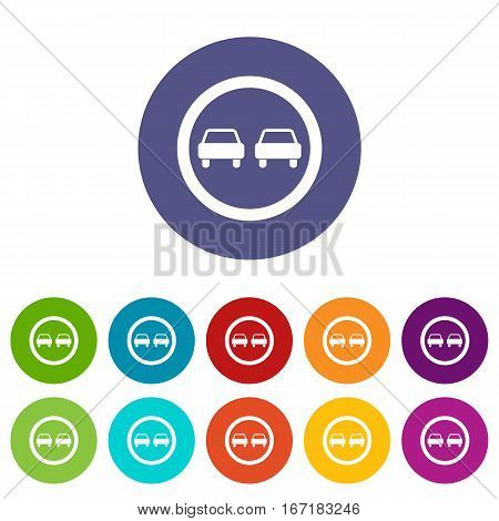 No overtaking road traffic sign set icons in different colors isolated on white background