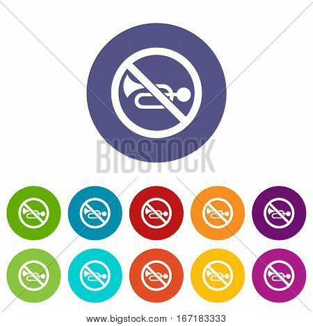 No horn traffic sign set icons in different colors isolated on white background