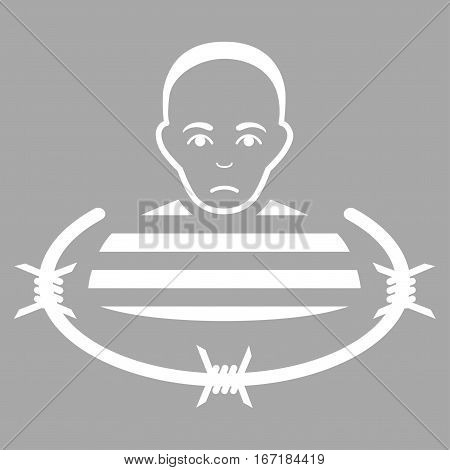 Isolated Prisoner vector icon. Flat white symbol. Pictogram is isolated on a silver background. Designed for web and software interfaces.