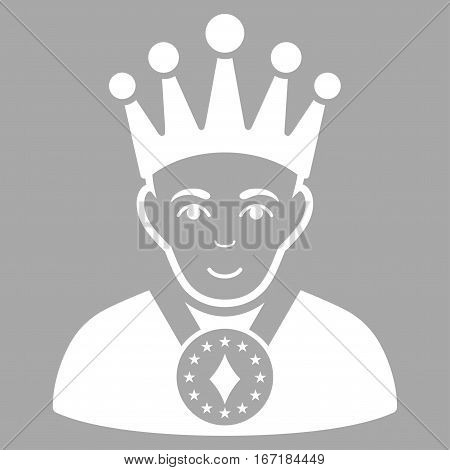 King vector icon. Flat white symbol. Pictogram is isolated on a silver background. Designed for web and software interfaces.