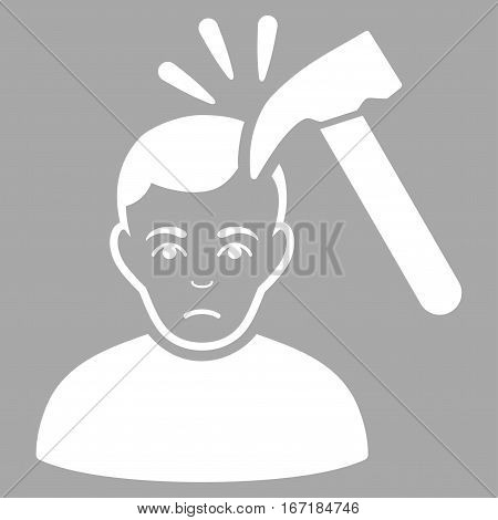 Murder With Hammer vector icon. Flat white symbol. Pictogram is isolated on a silver background. Designed for web and software interfaces.