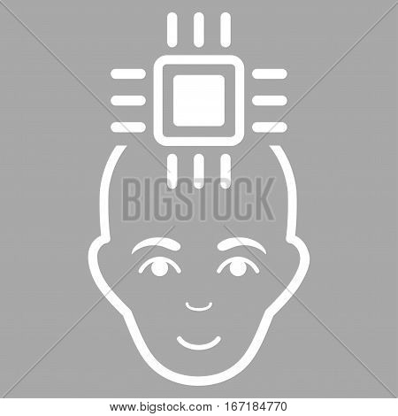 Neural Computer Interface vector icon. Flat white symbol. Pictogram is isolated on a silver background. Designed for web and software interfaces.