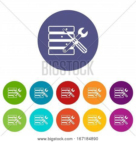 Database with screwdriverl and spanner set icons in different colors isolated on white background