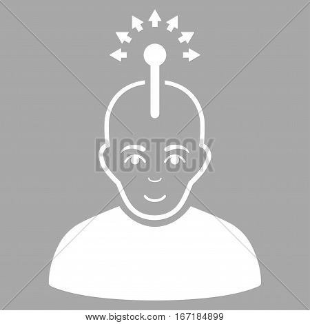 Optical Neural Interface vector icon. Flat white symbol. Pictogram is isolated on a silver background. Designed for web and software interfaces.