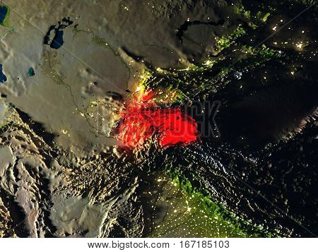 Tajikistan In Red From Space At Night