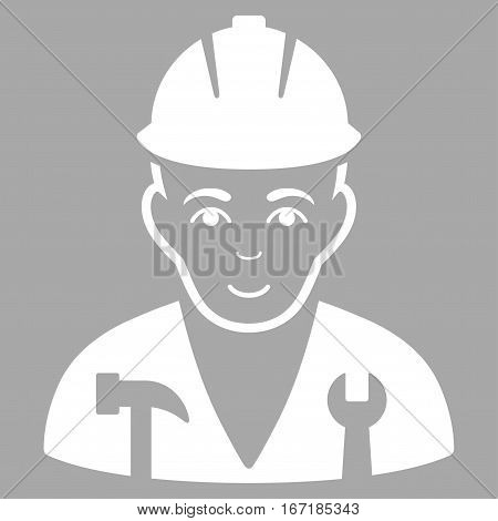 Serviceman vector icon. Flat white symbol. Pictogram is isolated on a silver background. Designed for web and software interfaces.