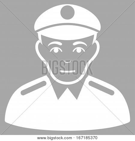Soldier vector icon. Flat white symbol. Pictogram is isolated on a silver background. Designed for web and software interfaces.