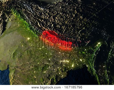 Nepal In Red From Space At Night