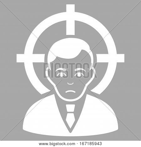 Victim Businessman vector icon. Flat white symbol. Pictogram is isolated on a silver background. Designed for web and software interfaces.