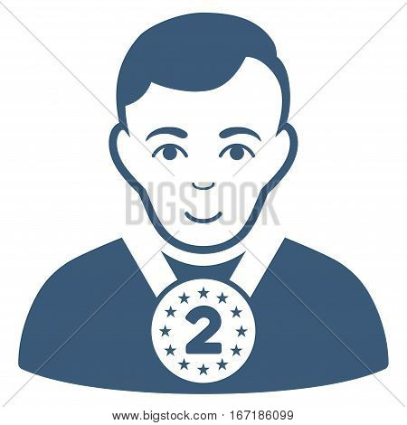 2nd Prizer Sportsman vector icon. Flat blue symbol. Pictogram is isolated on a white background. Designed for web and software interfaces.