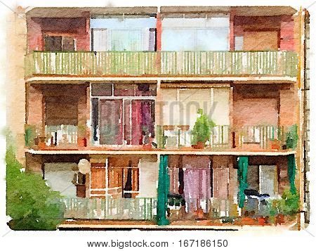 Digital watercolor painting of traditional apartments in Spain. Apartments with balconies with plants and toys on them.