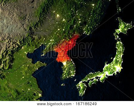 North Korea In Red From Space At Night