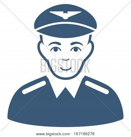 Aviator vector icon. Flat blue symbol. Pictogram is isolated on a white background. Designed for web and software interfaces.