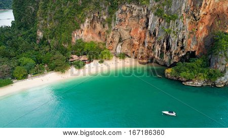 Aerial view of Phra Nang tropical beach and cave