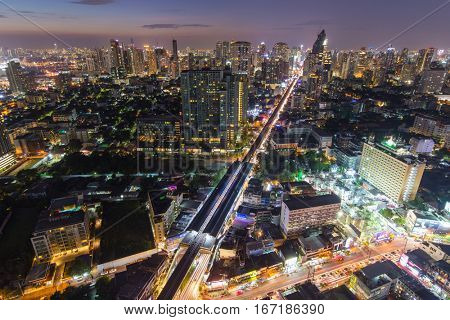 Bangkok twilight, view on the Thog Lor district and the skytrain line