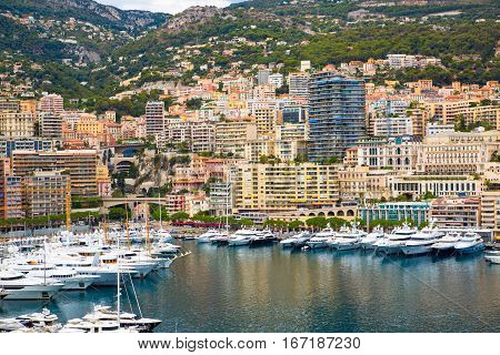 Monaco, Monte Carlo - September 16, 2016: Principality of Monaco. City of the Monte Carlo marina with luxury yachts and sail boats