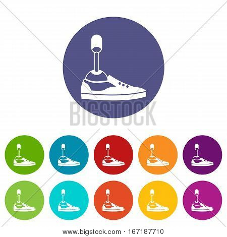 Prosthetic leg set icons in different colors isolated on white background