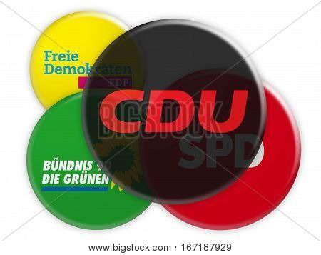 BERLIN GERMANY - JANUARY 27 2017: German Politics Coalition Formation Concept: Potential Coalition Partners of The CDU 3d illustration on white background