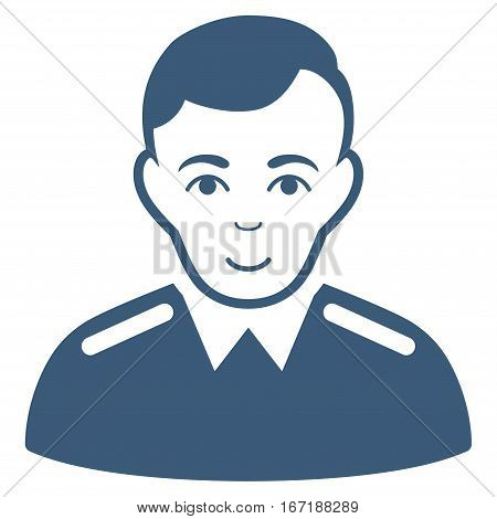 Officer vector icon. Flat blue symbol. Pictogram is isolated on a white background. Designed for web and software interfaces.