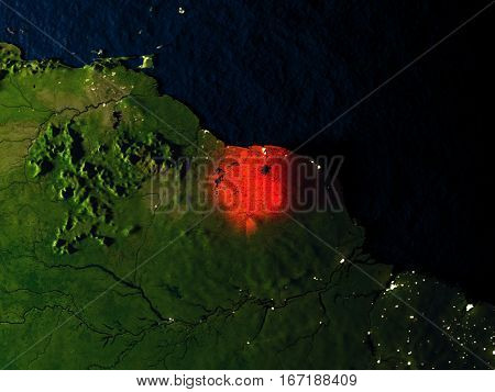 Suriname In Red From Space At Night