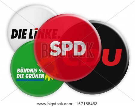 BERLIN GERMANY - JANUARY 27 2017: German Politics Coalition Formation Concept: Potential Coalition Partners of The SPD 3d illustration on white background