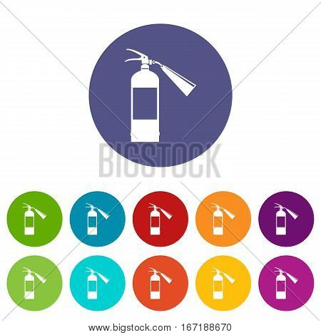 Fire extinguisher set icons in different colors isolated on white background
