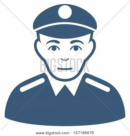 Soldier vector icon. Flat blue symbol. Pictogram is isolated on a white background. Designed for web and software interfaces.