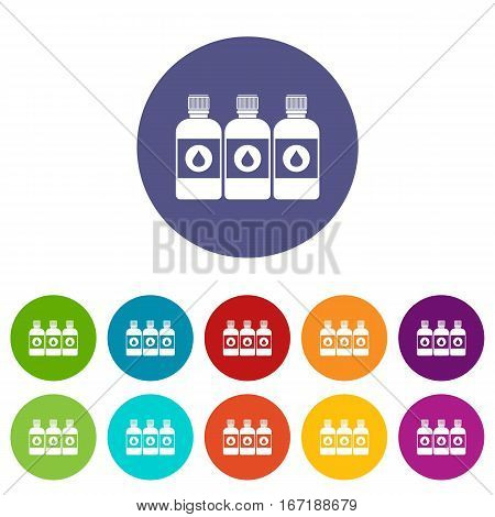 Printer ink bottles set icons in different colors isolated on white background