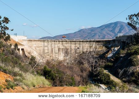 Wilderness foliage with San Miguel Mountain and Sweetwater dam in San Diego, California.