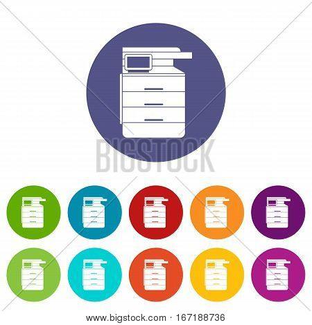 Multipurpose device, fax, copier and scanner set icons in different colors isolated on white background