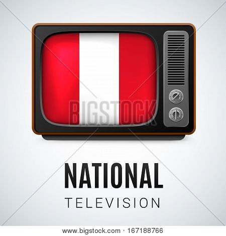 Vintage TV and Flag of Peru as Symbol National Television. Button with Peruvian flag