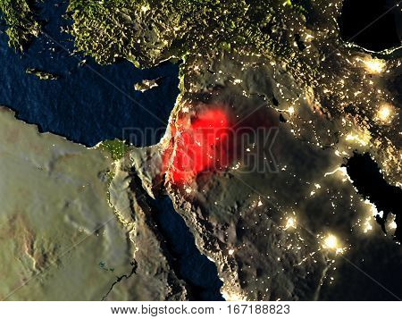 Jordan In Red From Space At Night