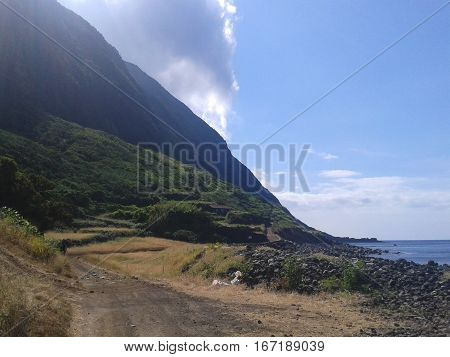 Landscape of the island of St. Jorge. Azores, Portugal