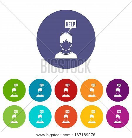 Man needs help set icons in different colors isolated on white background