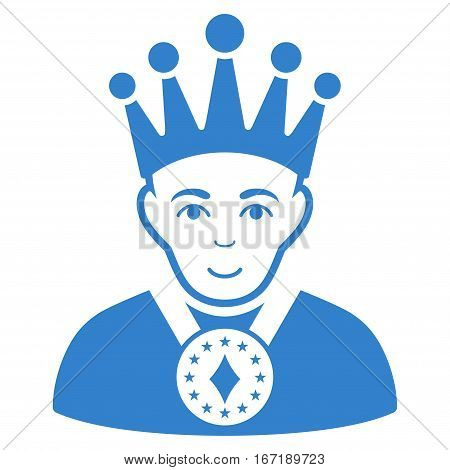 King vector icon. Flat cobalt symbol. Pictogram is isolated on a white background. Designed for web and software interfaces.
