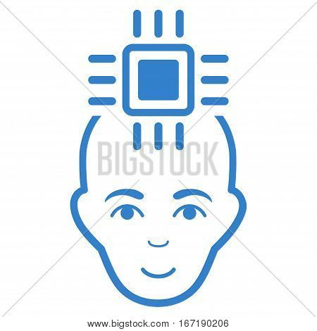 Neural Computer Interface vector icon. Flat cobalt symbol. Pictogram is isolated on a white background. Designed for web and software interfaces.