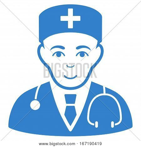 Physician vector icon. Flat cobalt symbol. Pictogram is isolated on a white background. Designed for web and software interfaces.