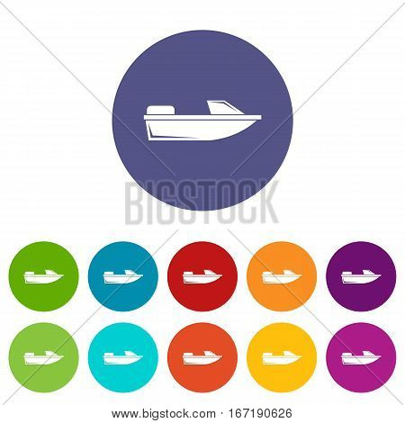 Sports powerboat set icons in different colors isolated on white background